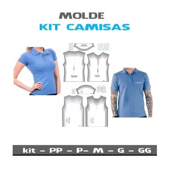 Kit Patrones Camiseta Pólo Masculina Y Femenina