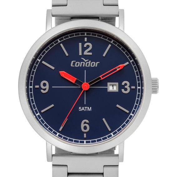Relógio Masculino Condor Original Prata E Azul Prova Dágua