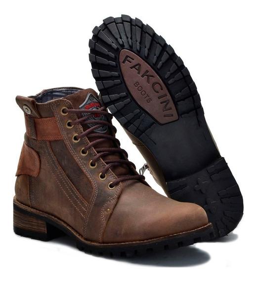 Sapato Bota Coturno Masculino Couro Salto Em Madeira 789