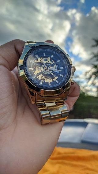Relógio Masculino Winner Forsing Tm340 Automático, Dourado.