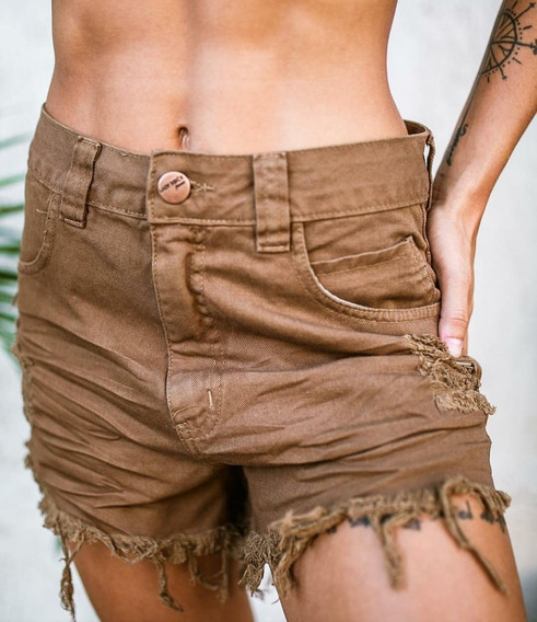 Shorts Cintura Alta Hotpants Destroyed Lady Rock Original