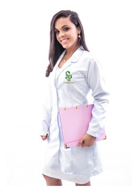 Bata Jaleco Farmácia Em Gabardine Italiano Feminino - Luxo