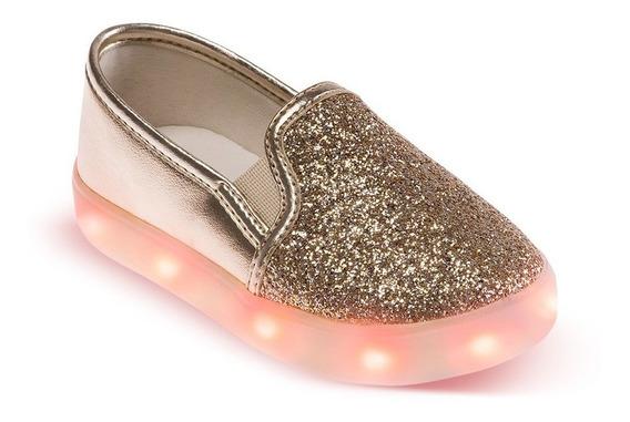 Tênis Led Infantil Menina Ouro Com Glitter Pimpolho 21 Ao 24