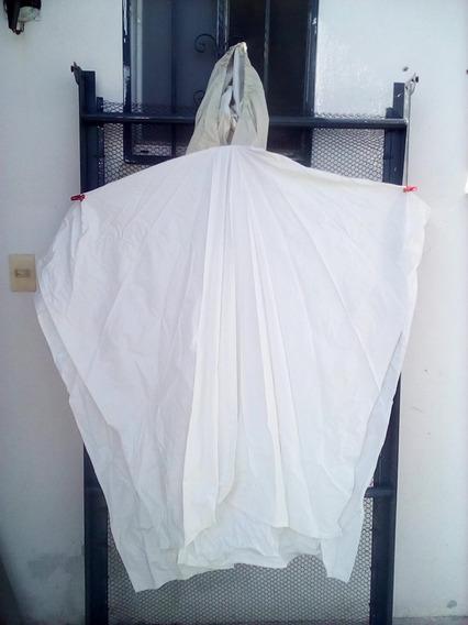 Impermeable Poncho Unitalla Con Capucha Blanco L-40 Grueso.