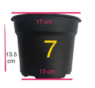 Maceta 7 Pulgadas Plástico Negro Flexible 100 Maceteros Matec