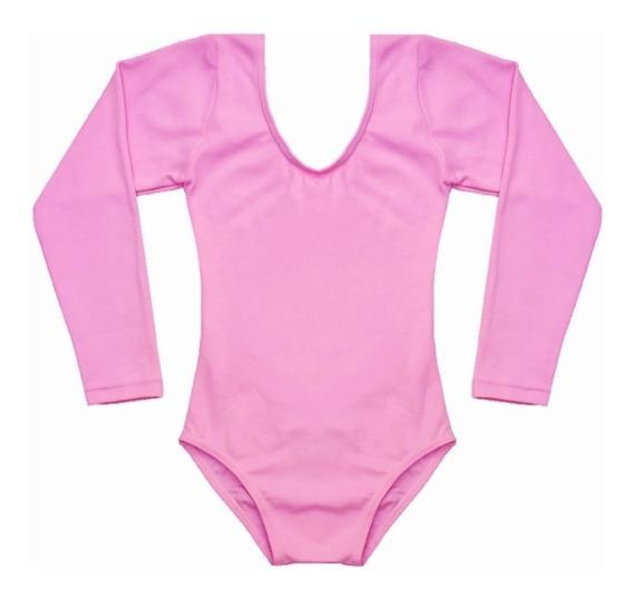 Collant Ballet Balé Manga Longa Infantil Body 2 4 6