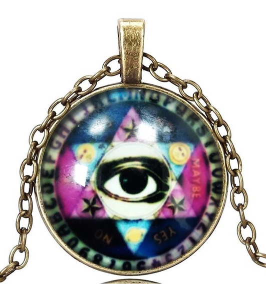 Colar Unissex Cabochão Pentagrama Olho De Hórus Amuleto