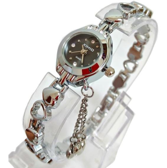 Relógio Pulseira Feminino Pulso Fino Prata Aço Inox Preto