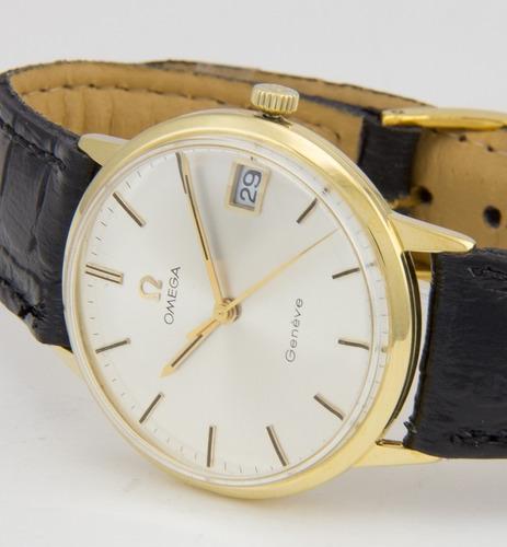 Relógio Masculino Omega Original Genève Em Ouro 18k Maciço