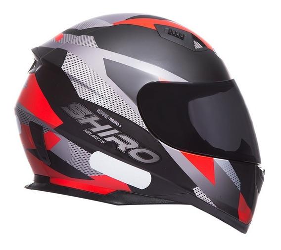 Capacete Shiro Sh-881-brno - Preto Fosco/vermelho-tamanho 60