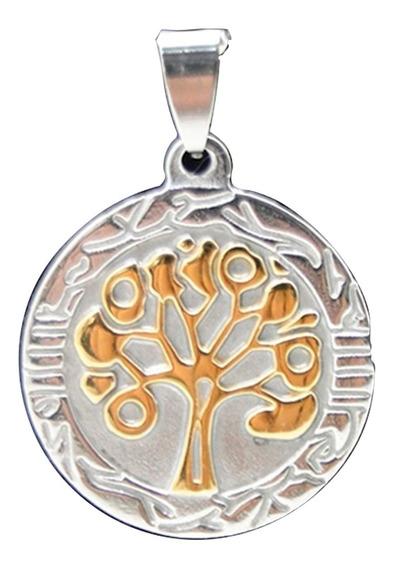 Cordão Colar E Pingente Genealógica Árvore Da Vida Aço Inox