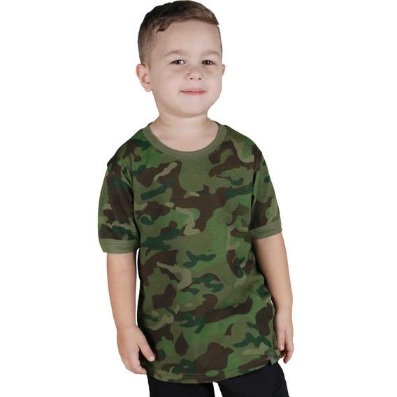 Camiseta Infantil Soldier Camuflada Tropical Bélica