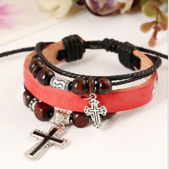 Pulseira Bracelete Couro Vermelha Cruz - Unisex - 013