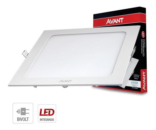 Imagem 1 de 5 de Painel Plafon Led 18w Quadrado Embutir Branco Frio Luminária