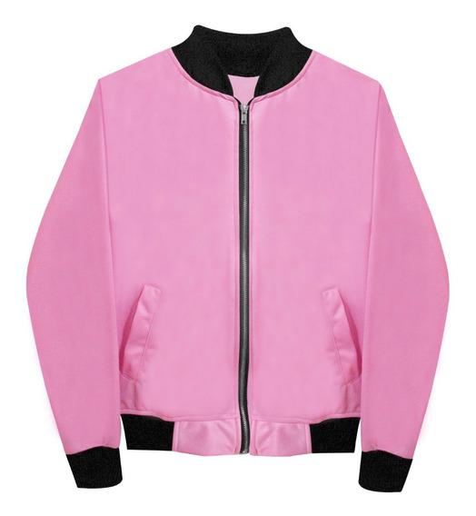 Chamarra Bomber Jacket Cierre Rosa Pastel Moda Envío Gratis