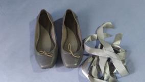 7bca82b318 Sapatilha Melissa Ballet Cinza 34 34 Com Fita Usada Perfeita