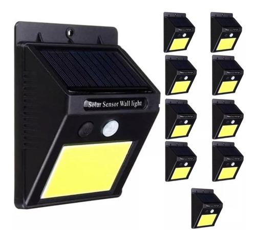 Pack 10 Foco 20 Leds Solar Con Sensor Movimiento Exterior