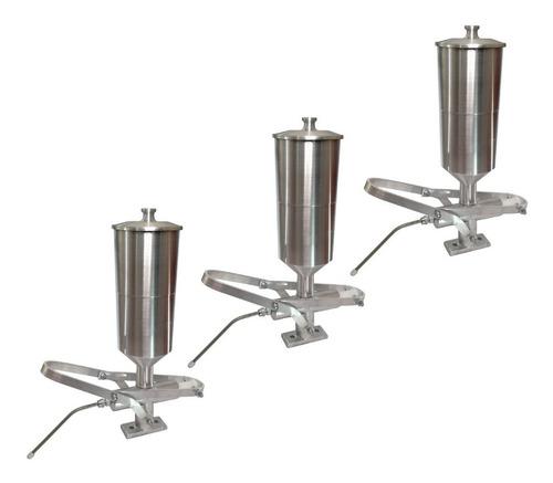 Kit 3 Doceiras Recheadeira De Churros Alumínio 2 Litros Cada