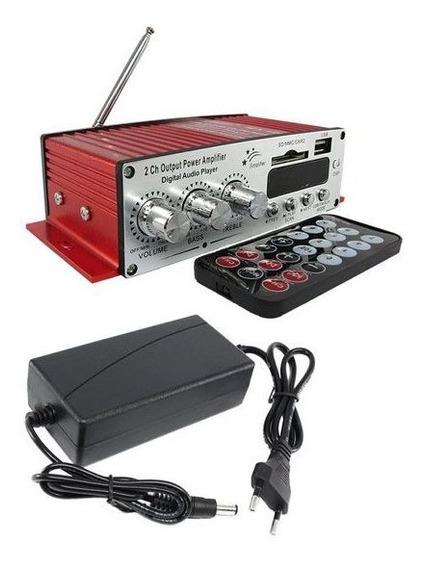 Receiver Amplificador Som Ambiente Casa Pc Usb Sd Radio Fm