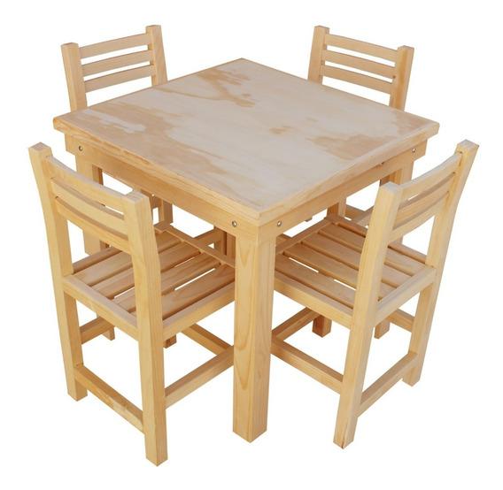 Comedor 4 Personas Restaurantero Mesa Madera Sillas Restaurante Cafetería Bar Uso Rudo Sin Barniz Eventos Mobiliario