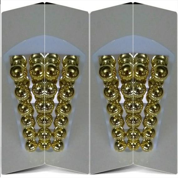 Brincos Perolas Cartela Com 12 Pares Dourada 9 Mm Revenda
