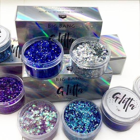 Glitter Glitta Maquillaje Artistico X 8 + Pegamento Glitter