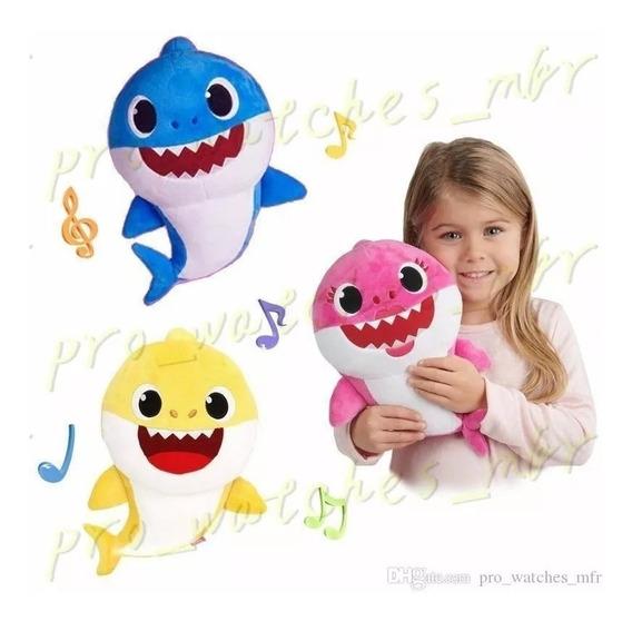 3 Pelúcias Baby Shark Bebê Tubarão Musicais Com 25 Cm