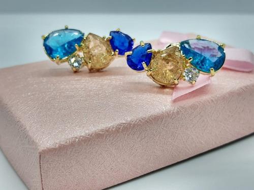 Brinco Ear Cuff Pedra Colorido Zirconia Fusion Dourado Festa