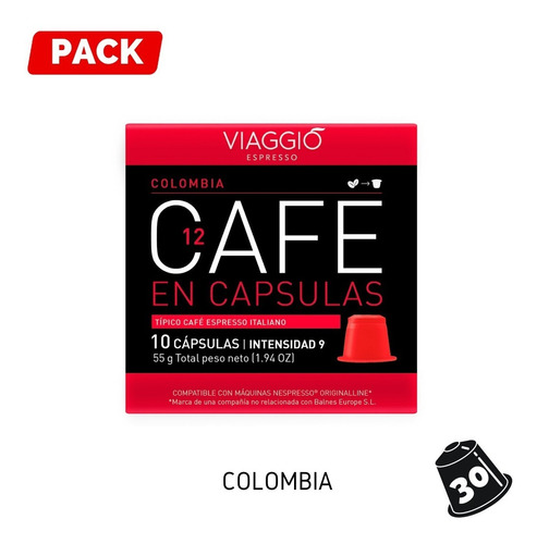 Pack 30 Cápsulas Café Viaggio Colombia Para Nespresso®