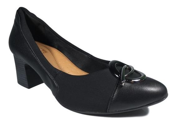 Sapato Scarpin Comfortflex Preto Proteção Joanete Salto 5cm