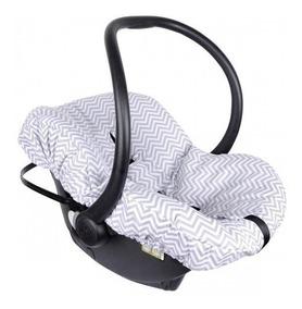 Capa De Bebê Conforto Chevron Cinza Multimarca 100% Algodão