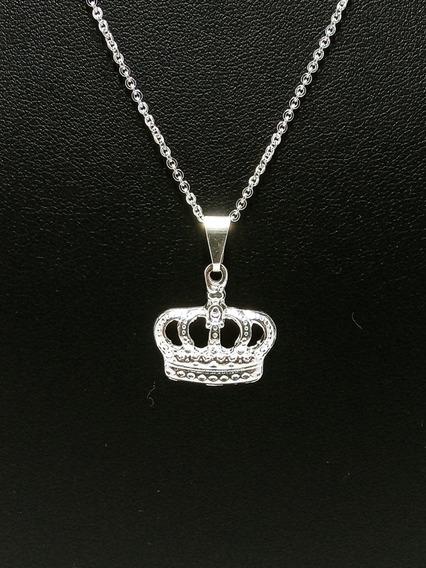 Colar Coroa Folheado A Prata 925