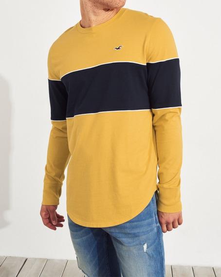 Camiseta Hollister Masculina Original Amarelo Azul Original