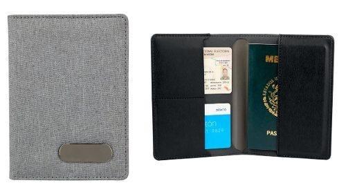 Porta Pasaporte Cartera Tarjetas Visa Gris