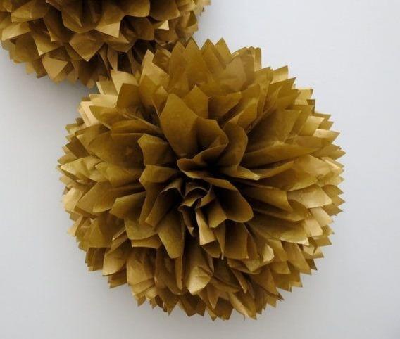 Pompon Flores Seda Dorado Plateado O Decoracion Evento 35cm