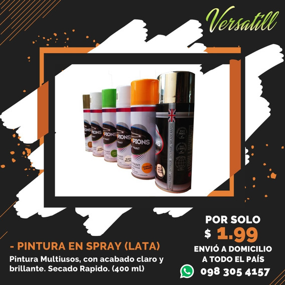 Pintura En Spray Colores Brillantes Metalizados Aerosol Lata