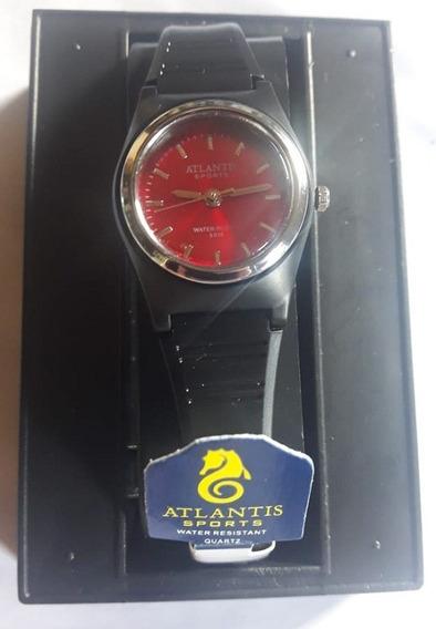 Relógio Atlantis 5336w Preto Fundo Vermelho