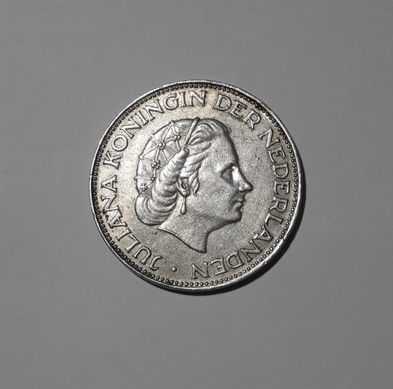 Moneda Grande De Plata 720. Holanda, 2,5 Gulden, 1961, Vf