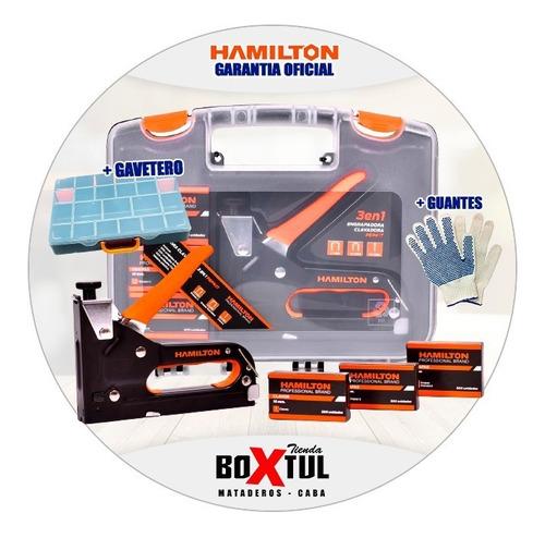 Imagen 1 de 10 de Kit Engrapadora Clavadora Profesional Hamilton Pepkit + Orga