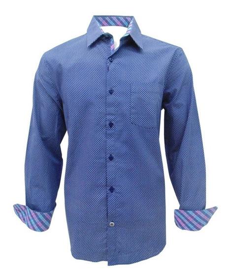 Camisa Casual Manga Larga Azul Caballero English Laundry