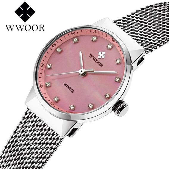 Wwoor Original Relógio Analógico Feminino Fashion