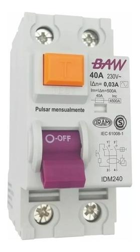 Imagen 1 de 1 de Interruptor Diferencial 40a 2p In=40a Idn=30ma Baw