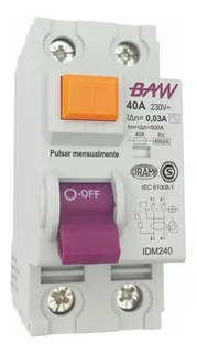 Interruptor Diferencial 40a 2p In=40a Idn=30ma Baw