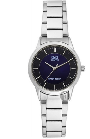 Reloj Q&q By Citizen Acero Dama Qa45j202y Fondo Azul