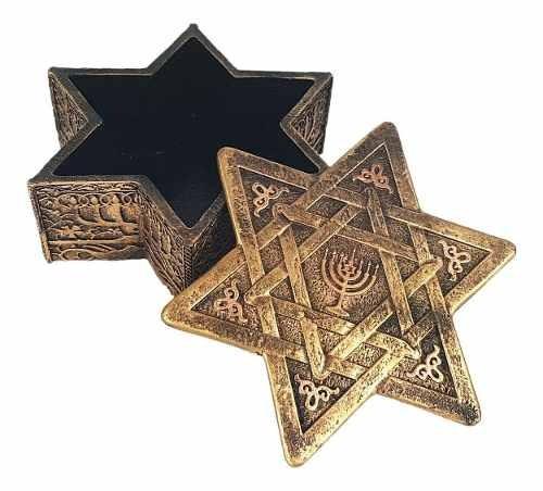 Porta Joia Estrela De Davi Simbolo Judaico Decoração Em Resina
