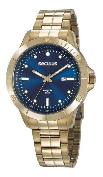 Relógio Analógico Masculino Seculus Dourado 20752gpsvda1