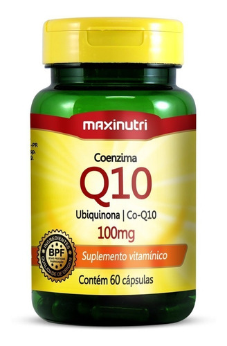 Imagem 1 de 3 de Coenzima Q10 (ubiquinona) 100mg - Maxinutri - 60 Cápsulas