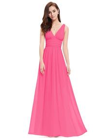 Vestido Cuello En V Maxi Rosa Ever Pretty 09016