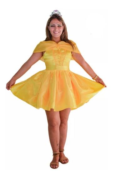 Fantasia Vestido Princesa Bela E A Fera Verão Curta Adulto