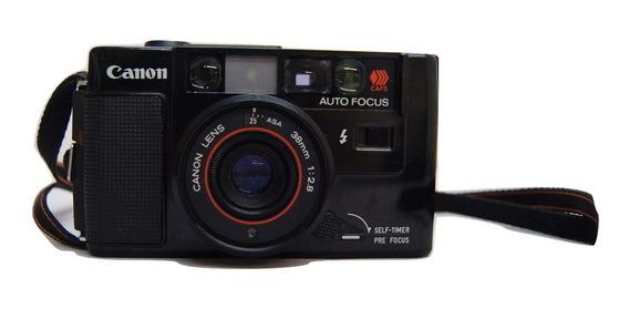 Antiga Câmera Fotográfica Canon Af35m Com Capa Protetora